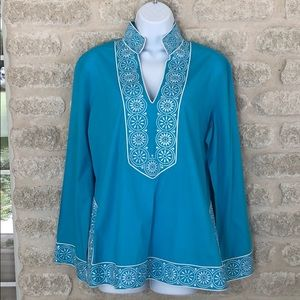 Peck and Peck Weekend boho embroidered tunic Sz L